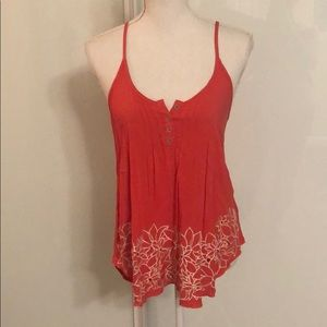 XHILARATION coral tank with embroidered flowers